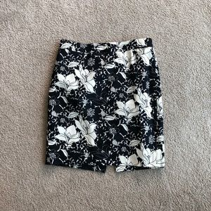 J. Crew black and white floral pencil skirt